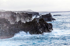 Rough coast with huge waves Royalty Free Stock Image