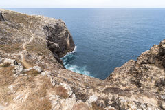 Rough coast of Sagres, most western point in Europe, Portugal Royalty Free Stock Photo