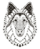 Rough collie dog head zentangle stylized, vector, illustration, Stock Photos