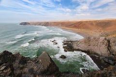 Rough colorful coastline, Atlantic, Morocco Royalty Free Stock Photography
