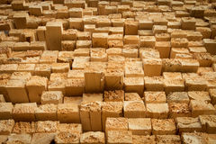 Rough cut lumber. Pile of stacked rough cut lumber at a sawmill Royalty Free Stock Image