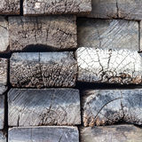 Rough cut timber sleepers. Royalty Free Stock Photos