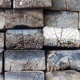 Rough cut timber sleepers. Royalty Free Stock Photos