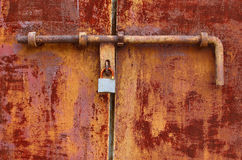 Rough door with lock Stock Photo