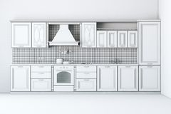 Rough Draft Of Classic Kitchen Cabinet. (First Version Royalty Free Stock Image