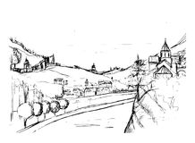 Rough draft of small Georgian town street, buildings and trees against mountains on background. Landscape with Stock Photography