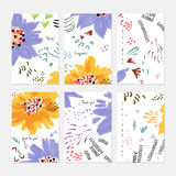 Rough drawn with marker brush spring flowers and seeds Royalty Free Stock Photography