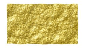 Rough golden textured old grungy paper isolated on white. Glittery shining paper for creative designs. Rough edge torn golden glossy paper for creative designs Royalty Free Stock Photo