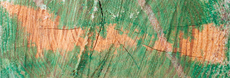 Rough Fragment of the Painted Wood Stock Photography