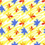 Rough grunge brushstrokes and watercolor maple leaves seamless pattern. vector illustration