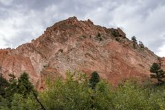 Rough Hewn Rock Formation at Garden of the Gods Royalty Free Stock Image