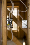 Rough In Light Switch. Light switch roughed in,  in new home construction Stock Image