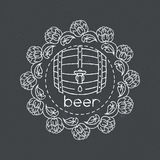 Rough line vector beer barrel llustration Stock Photography