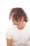 Rough man with ruffled hair Royalty Free Stock Photos