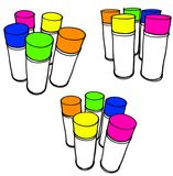 Rough marker sketch of dispenser spray can group Royalty Free Stock Images