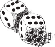 Rough monochrome sketch - two dices Stock Photo