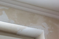 Rough plaster corner of window opening Royalty Free Stock Photography