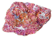 Rough red Chalcopyrite stone isolated Royalty Free Stock Photography