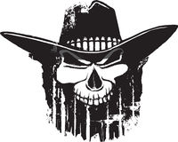 Rough Rider. Cartoon outlaw skull with western hat. Vector and high resolution jpeg files available Royalty Free Stock Image