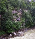 Rough river in the Carpathians stock image
