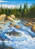 Rough river in the fir forest . Oil painting on canvas Royalty Free Stock Photos