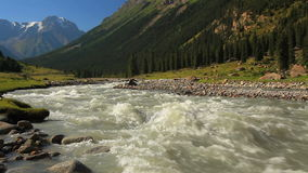 Rough river in the mountains. Kyrgyzstan stock footage