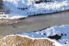 Rough river in winter Royalty Free Stock Photos