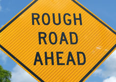 Rough road ahead sign royalty free stock photos