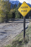 Rough road ahead yellow sign Royalty Free Stock Images