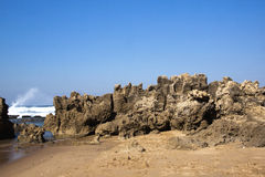 Rough Rock Formation at Umdloti Beach, Durban Sout Royalty Free Stock Image