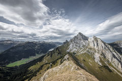 Rough rocky mountain summits. At tannheimertal and lechtal Royalty Free Stock Photography