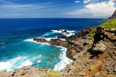 Rough and rocky shore at north-west coast of Maui, Hawaii Stock Image