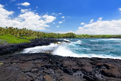 Rough and rocky shore at south coast of the Big Island of Hawaii. USA Stock Images