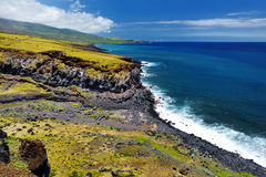 Rough and rocky shore at south coast of Maui, Hawaii Stock Images