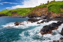 Rough and rocky shore at south coast of Maui, Hawaii. USA Royalty Free Stock Photos