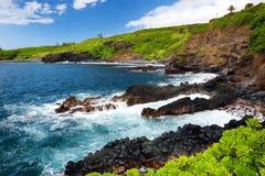 Rough and rocky shore at south coast of Maui, Hawaii. USA Royalty Free Stock Photo