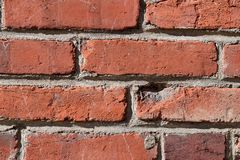 Rough Ruddy Brick Texture Background. Closeup urban rough red brick wall abstract texture background with detail Royalty Free Stock Photo