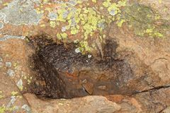 SMALL WATER PUDDLE IN A HOLLOW IN A ROCK WITH LICHEN. Rough rust coloured textured rock with water collection in a small indentation Stock Photo