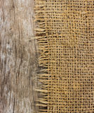 Rough sack material and  wooden texture Stock Photo