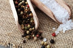 Rough salt and mixed peppercorns on wooden shovels.  royalty free stock photos