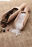 Rough salt and mixed peppercorns on wooden shovels.  royalty free stock photography
