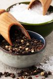 Rough salt and mixed peppercorns on wooden shovels.  stock photography