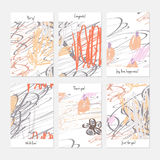 Rough scribbles and abstract berries. Hand drawn creative invitation or greeting cards template. Anniversary, Birthday, wedding, party, social media banners set Royalty Free Stock Images