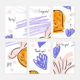 Rough scribbles and abstract berries. Hand drawn creative invitation or greeting cards template. Anniversary, Birthday, wedding, party, social media banners set Royalty Free Stock Photo