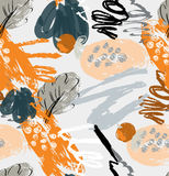 Rough scribbles and doodles with berries and floral leaves. Abstract seamless pattern. Universal bright background for greeting cards, invitations. Had drawn Stock Images