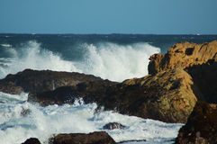 Rough sea. Indian ocean breaking over the rocks Royalty Free Stock Photo