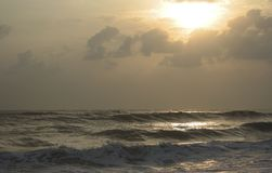 Rough sea. At sunrise Royalty Free Stock Image