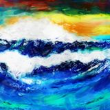 Rough Sea Abstract Paint Splash. A digitally painted artistic abstract grunge wavy ocean seascape Stock Photos