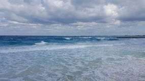 Rough sea. Beach in the Bahamas on a windy day Stock Photo