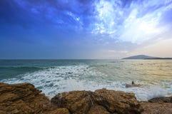 Rough sea sea beats on the rocks. Rough sea beats on the rocks. Seascape at winter, Greece Stock Photos